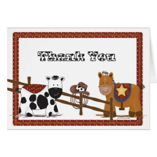 Un carte de remerciements de cow-girl de cowboy