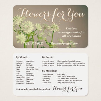 Un carte de visite intéressant garder - fleuriste