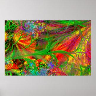 Un champ des fleurs sauvages psychédéliques poster