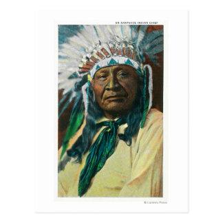 Un chef indien PortraitColorado d'Arapahoe Carte Postale