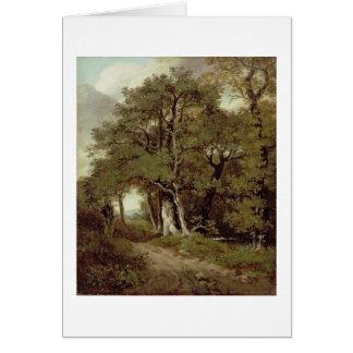 Un chemin boisé carte de vœux