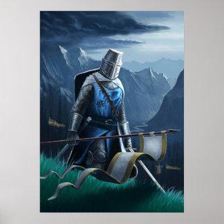 Un chevalier courageux marche dessus poster