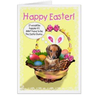 Un chiot dans un panier - Joyeuses Pâques ! Carte De Vœux
