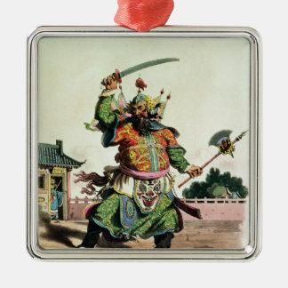 Un comédien chinois ornement carré argenté