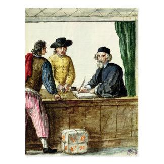 Un commerçant juif avec deux clients carte postale