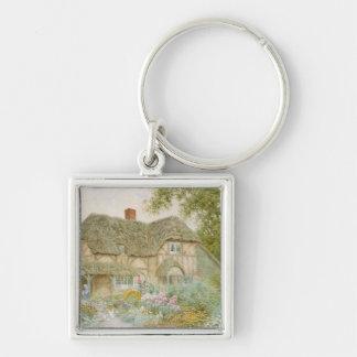Un cottage de Surrey Porte-clé Carré Argenté