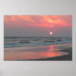 Un coucher du soleil parfait - île de chêne, affic posters