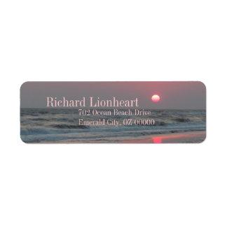 Un coucher du soleil parfait - île de chêne, OR Étiquette D'adresse Retour
