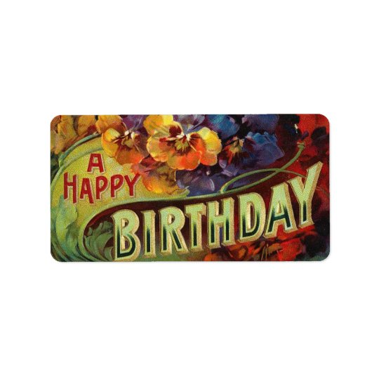Un cru de joyeux anniversaire peint étiquette d'adresse