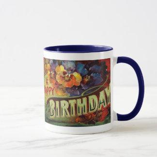 Un cru de joyeux anniversaire peint tasses