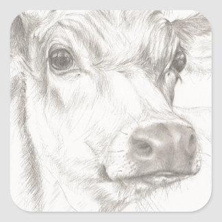Un dessin d'une jeune vache sticker carré