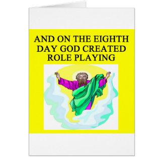 un dieu a créé le jeu de rôle carte de vœux