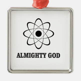 un dieu tout-puissant ouais ornement carré argenté