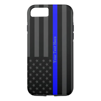 Un drapeau mince de Blue Line Etats-Unis Coque iPhone 7