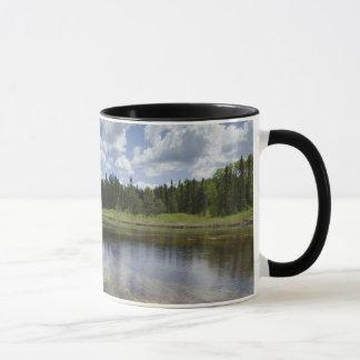 Un étang immobile reflétant les nuages mug
