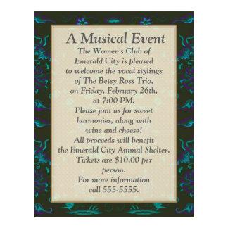 Un événement musical -- Vert bleu noir avec de la Prospectus 21,6 Cm X 24,94 Cm