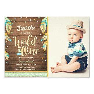 Un garçon sauvage d'anniversaire d'invitation carton d'invitation  12,7 cm x 17,78 cm