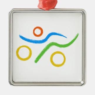 Un grand cadeau de triathlon pour votre ami ou ornement carré argenté