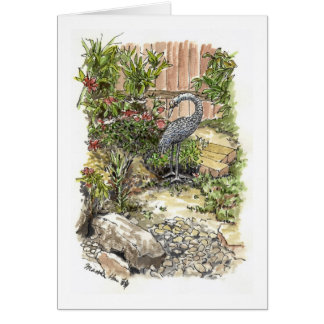 Un héron seul dans un jardin carte de vœux