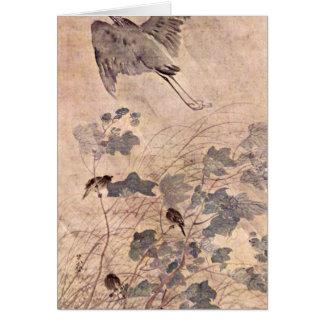 Un héron sur Malvenbaum par Matsumura Goshun Cartes