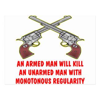 Un homme armé tuera un homme sans armes cartes postales