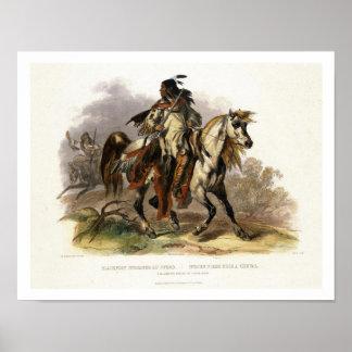 Un Indien Blackfoot à cheval, plaquent 19 du vol. Poster