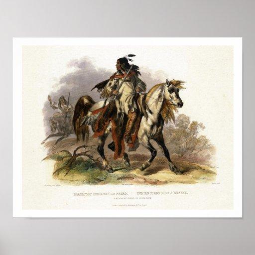 Un Indien Blackfoot à cheval, plaquent 19 du vol. Affiche