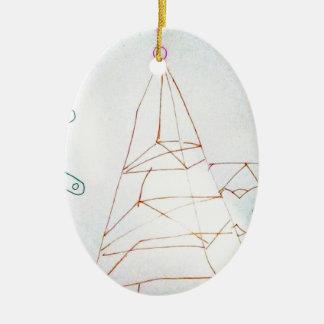 Un jeu de perle en verre de géomètres ornement ovale en céramique
