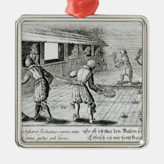 Un jeu de vrai tennis avec des ballades de sport ornement carré argenté