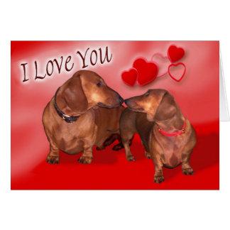 Un jour de Valentines de basset allemand Carte De Vœux