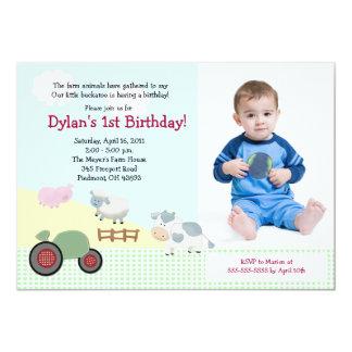 Un jour sur l'anniversaire 5x7 de *PHOTO* de ferme Carton D'invitation 12,7 Cm X 17,78 Cm