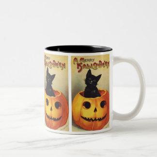 Un joyeux Halloween, chat noir vintage en Mug Bicolore