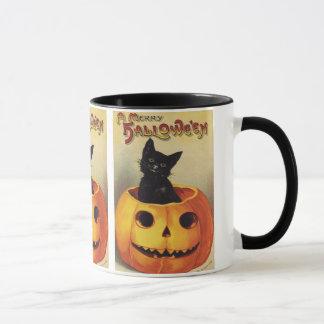 Un joyeux Halloween, chat noir vintage en Mugs
