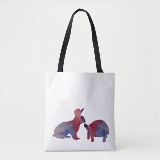 Un lapin et une tortue sac