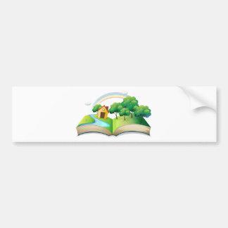 Un livre avec une histoire d'une maison à la forêt autocollant de voiture