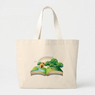 Un livre avec une histoire d'une maison à la forêt sac en toile jumbo