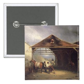Un maréchal-ferrant chaussant un cheval badge
