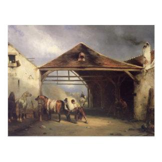 Un maréchal-ferrant chaussant un cheval carte postale