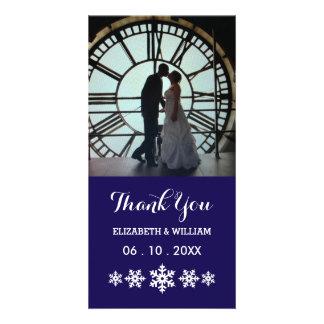 Un merci bleu profond de mariage et une neige photocarte personnalisée