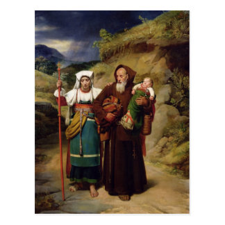 Un moine aidant un pèlerin carte postale