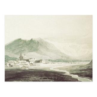 Un monastère dans une vallée alpine (washe gris et carte postale