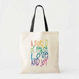 Un monde de paix, d'amour, et de joie sac fourre-tout