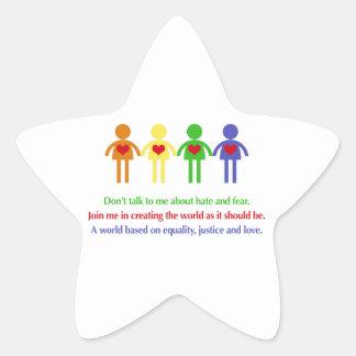 Un monde d'égalité, de justice et d'amour sticker étoile