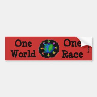 Un monde, une course autocollant de voiture