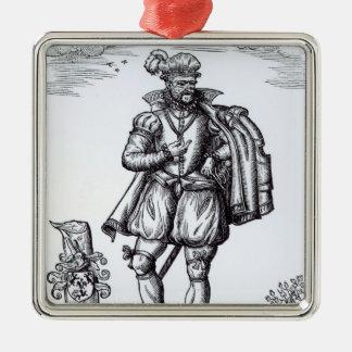 Un monsieur de Tudor Ornement Carré Argenté