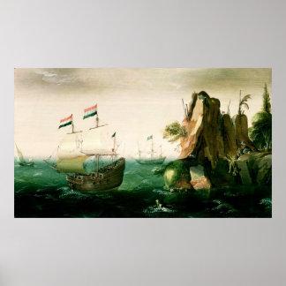 Un navire marchand néerlandais outre d'une côte ro affiche