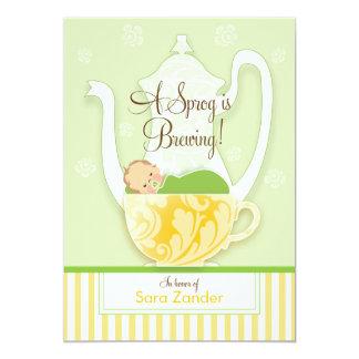 Un neutre de genre du thé | de baby shower carton d'invitation  12,7 cm x 17,78 cm