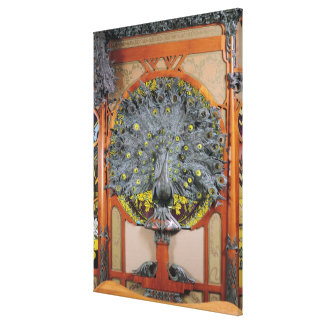 Un paon du panneau central d'une peinture murale toiles