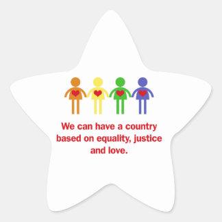Un pays basé sur l'égalité, la justice et l'amour sticker étoile