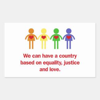 Un pays basé sur l'égalité, la justice et l'amour sticker rectangulaire